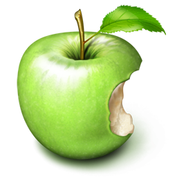 bite of green apple icon