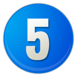 blue number 5 icon