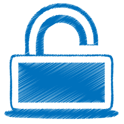 blue open lock icon