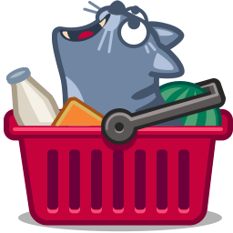 cat in shopping basket icon