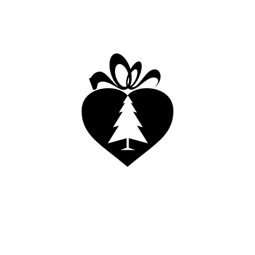 christmas heart shaped gift box icon