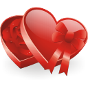 crystal style heart shaped gift box icon