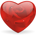 crystal style heart shaped rose icons