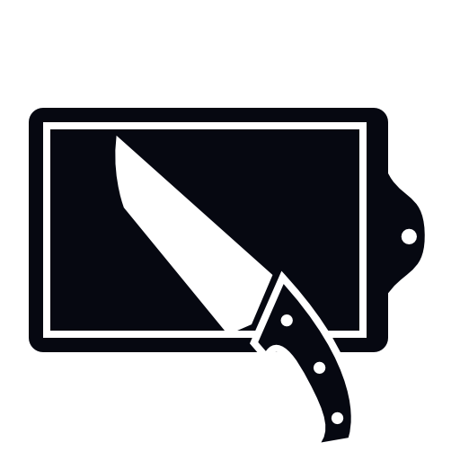 cutting board and kitchen knife icon