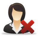 delete women business user icon