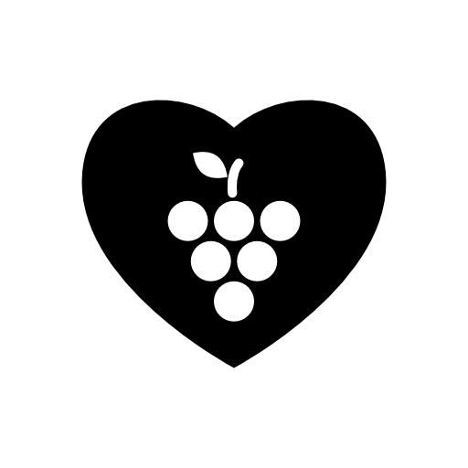 grapes in a heart shaped icon
