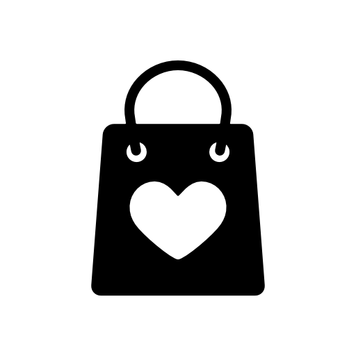 heart shaped shopping bag icon