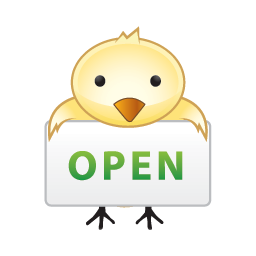lovely bird in open business icons