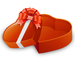 open heart shaped gift box icon