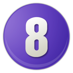 purple number signs 8 icon