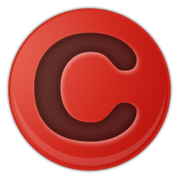red copyright symbol icon