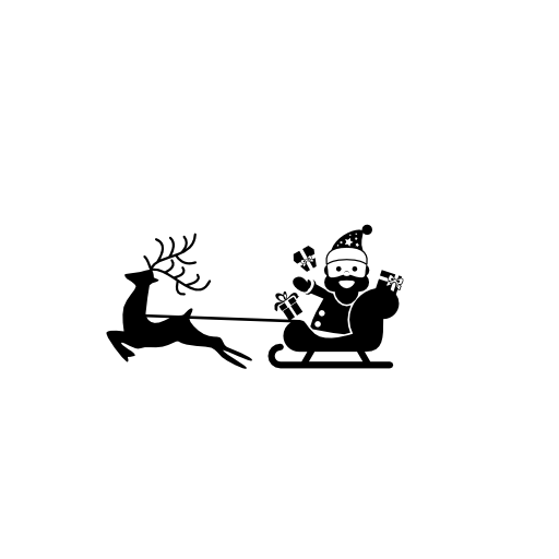 reindeer pulling sleigh with santa claus icons