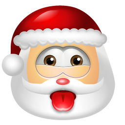 santa put his tongue out emoticon