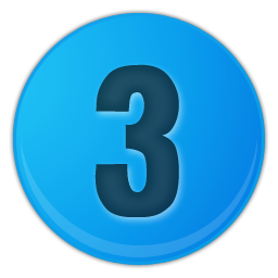 sky blue number 3 icon
