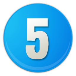 sky blue number 5 icon