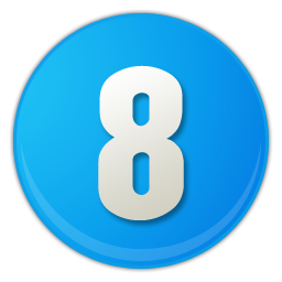 sky blue number 8 icon