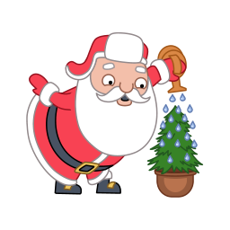 watering flowers of santa claus icons