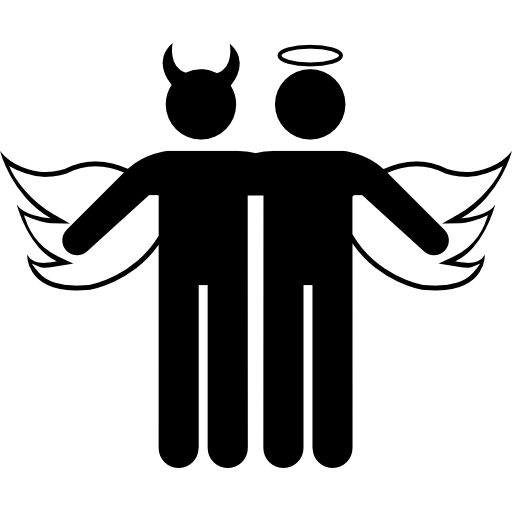 winged angel and devil icon