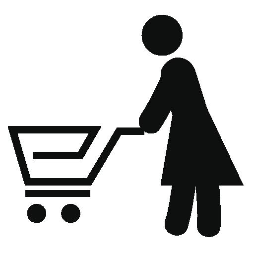 woman pushing a shopping cart icon