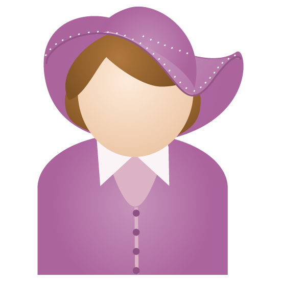 woman with purple hat icon