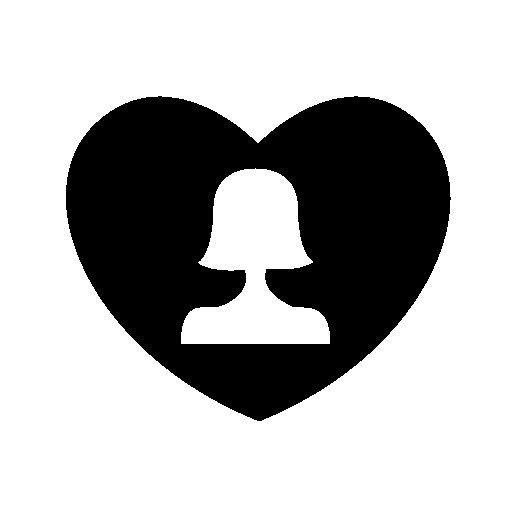 women in heart shaped icon